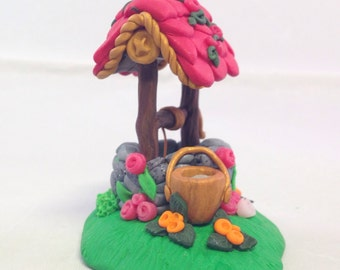 Polymer Clay Wishing Well Fairy Garden Accessory