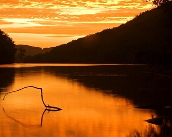 Sunrise Print, Hudson River, Upstate New York, Sunrise Photography, Nature Photography, Fine Art Photography, Orange, Picture of Sunrise