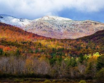Mountain Snow, Autumn Landscape, Adirondack Photograph, Season Change, First Snowfall, Landscape Art, Nature Print, Keene Valley Photo