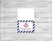Nautical Baby Shower Buffet Labels - Printable Baby Shower Buffet Labels - Navy Pink Baby Shower - Buffet Food Labels - EDITABLE - SP119