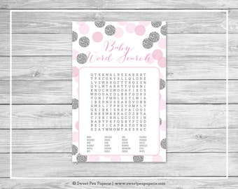Pink and Silver Baby Shower Baby Word Search Game - Printable Baby Shower Baby Word Search Game - Pink and Silver Glitter Baby Shower- SP123