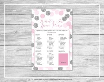 Pink and Silver Baby Shower What's In Your Purse Game - Printable Baby Shower What's In Your Purse - Pink and Glitter Baby Shower - SP123