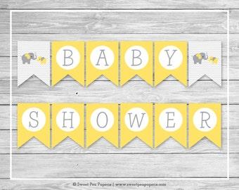 Elephant Baby Shower Banner - Printable Baby Shower Banner - Yellow and Gray Elephant Baby Shower - Baby Shower Banner - EDITABLE - SP103