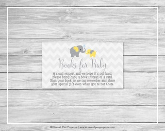 Elephant Baby Shower Book Instead of Card Insert - Printable Baby Shower Books for Baby - Yellow and Gray Elephant Baby Shower - SP103