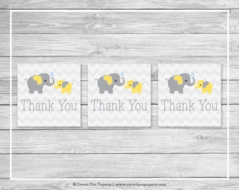 Elephant Baby Shower Favor Thank You Tags - Printable Baby Shower Thank You Tags - Yellow and Gray Elephant Baby Shower - SP103
