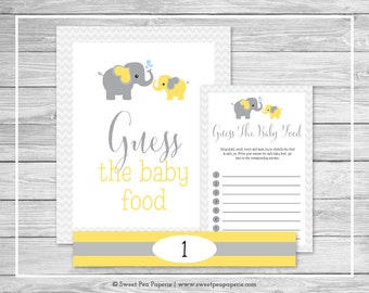 Elephant Baby Shower Guess The Baby Food Game - Printable Baby Shower Guess The Baby Food Game - Yellow and Gray Elephant Baby Shower- SP103