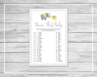 Elephant Baby Shower Name That Baby Game - Printable Baby Shower Name That Baby Game - Yellow and Gray Elephant Baby Shower - SP103