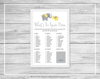 Elephant Baby Shower What's In Your Purse Game - Printable Baby Shower What's In Your Purse Game - Yellow Gray Elephant Baby Shower - SP103