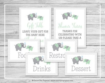Elephant Baby Shower Table Signs - Printable Baby Shower Table Signs - Green and Gray Elephant Baby Shower - EDITABLE - SP104