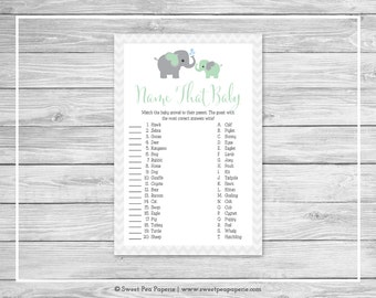 Elephant Baby Shower Name That Baby Game - Printable Baby Shower Name That Baby Game - Green and Gray Elephant Baby Shower - SP104