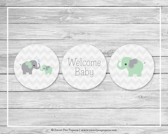 Elephant Baby Shower Cupcake Toppers - Printable Baby Shower Cupcake Toppers - Green and Gray Elephant Baby Shower - Cupcake Toppers - SP104