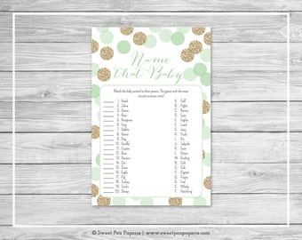 Mint and Gold Baby Shower Name That Baby Game - Printable Baby Shower Name That Baby Game - Mint and Gold Glitter Baby Shower - SP108