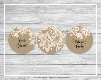 Tan and Lace Baby Shower Cupcake Toppers - Printable Baby Shower Cupcake Toppers - Tan and Lace Baby Shower - Cupcake Toppers - SP112