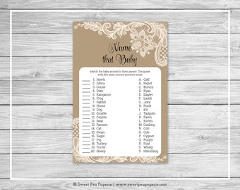 Tan and Lace Baby Shower Name That Baby Game - Printable Baby Shower Name That Baby Game - Tan and Lace Baby Shower - Name That Baby - SP112