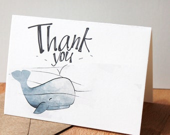 Whale Thank you Card - Nautical Card, Blue Whale Thank You Note