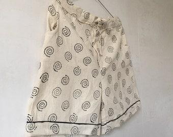 SALE - was 18.00   Handmade Blockprinted Shorts, Khadi Shorts, Cotton Shorts, Summer Shorts