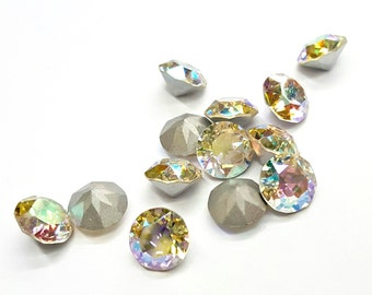 "12 Pieces Swarovski Chatons ""Cristal Iridescent AB"", Vintage, 8mm Round"