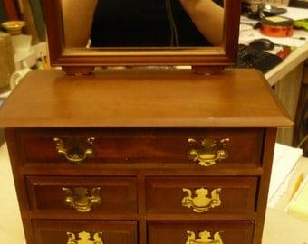 Wooden Miniature Dresser with Mirror Music Jewelry Box