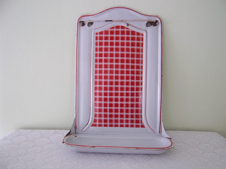 Enamel Kitchen Utensil Tool Rack Red And White Bb Fr Res