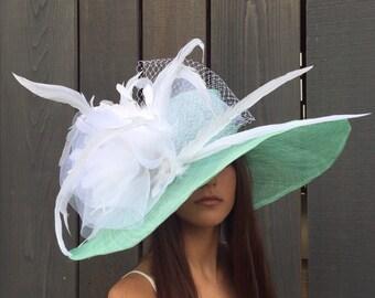Miss Sue Kentucky Derby aqua and white hat, derby hat, tea party hat, royal ascot, wedding hat, church hat