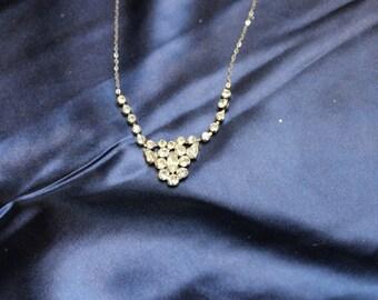 Beautiful Vintage Cluster Diamante Necklace