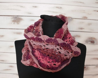 crochet infinity scarf, women lace shawl, crochet cowl, womens neckwarmer, circle scarf womens scarf, purple scarf brown cowl, crochet scarf