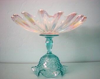 Blue Wedding Dessert Stand/Cupcake Pedestal/Cake Plate/Dessert Buffet. Irridescent