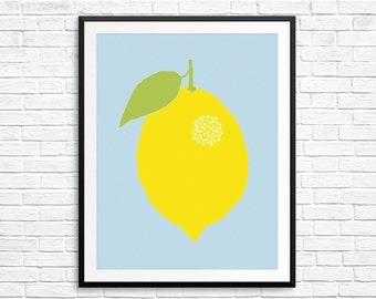 Fruit print , lemon wall decor, lemon print, food art, kitchen decor, kids poster, kids room decor, nursery art print