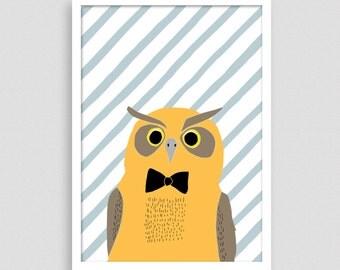 Owl with bow tie kids art print, animal art, woodland nursery decor, owl print, nursery wall decor, art for kids