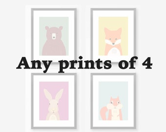 Set Of 4 Prints, Nursery Wall Decor, Children Wall Decoration, Kids Wall  Picture