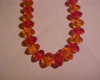 Necklace with Facetted  Acrylic Beads of light and dark Amber FREE SHIPPING USA