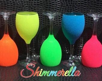 Neon glitter glasses