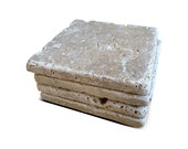 Stone Coasters with Cork Backing - Set of Four in Tumbled Stone  - Noce Tumbled Travertine