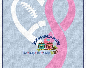 Football Breast Cancer Awareness Ribbon, heart, laces, SVG, DXF, PNG, Cut File