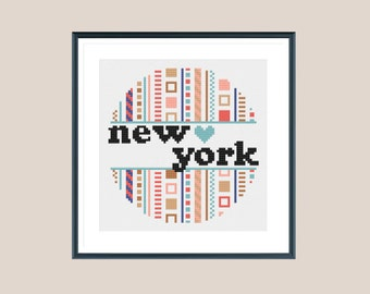 New York cross stitch pattern, counted cross stitch, instant download