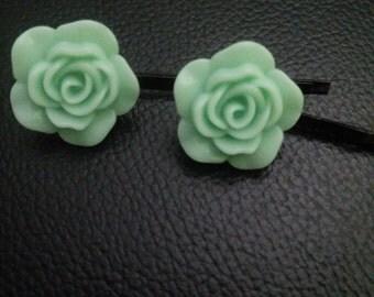 Mint green rose flower bobby pins-flower bobby pins-rose flower bobby pins-bobby pins