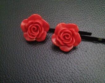 Red rose flower bobby pins-flower bobby pins- bobby pins -rose bobby pins