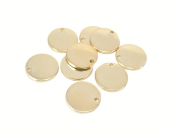 20 Gauge Gold Filled Round Disc Metal Stamping Blank Tag 20 ga, g 8.9mm, 14k Yellow GF With Hole