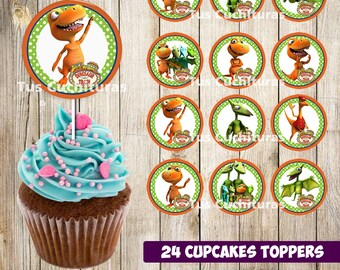 24 Dinosaur Train Cupcakes Toppers instant download Printable Dinosaur Train  party cupcakes Topper Dinosaur Train toppers