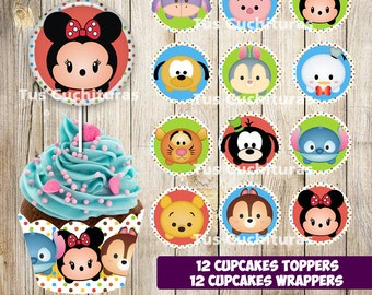 24 Tsum Tsum cupcake wrappers/Toppers instant download, Printable Tsum Tsum party cupcake wrappers, Tsum Tsum cupcake wrappers