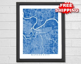 Kansas City Map Art - Map Print - Missouri - KC Map - Map Print - Home Map - Anniversary Gift - Map Art - Home Decor - Maps - Custom Map