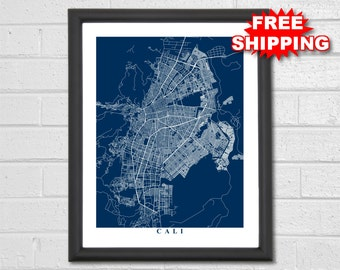 Cali Map Art - Map Print - Colombia - Map Print - Home Map - Modern - Birthday - Geography - Custom Map - Housewarming Gift Vacation