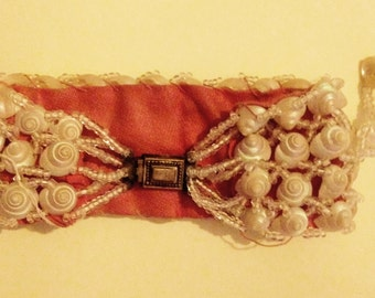 SALE 1930's beaded shell cuffs