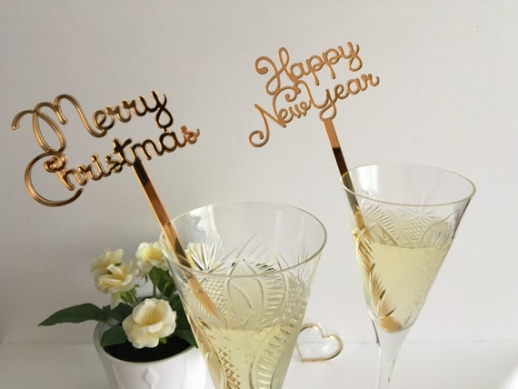 Merry Christmas New Years Party Decorations Swizzle sticks Drink stirrers Personalized Christmas Celebration Champagne cocktail Party favors
