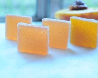 Peach Pate de fruit, Organic Peach French jellies, Handmade fruit preserve, Artisan confection, delicate fruit snack, elegant gift