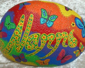 Rainbow country Memorial for deceased animals on order! Hand-painted River pebbles weatherproof and UV-resistant from €59