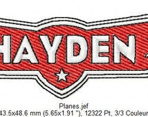 Pattern for machine embroidery Logo Planes with first name
