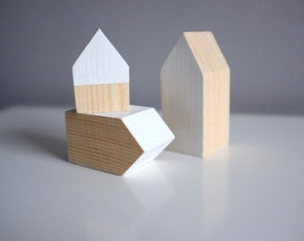 Wooden home decor - set of 3 houses  by Polymorphics