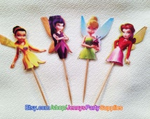 12PCS Tinkerbell Cupcake Toppers, Tinkerbell Fairy Toppers, Pixie Fairy Toppers, Fairy Cupcake Toppers