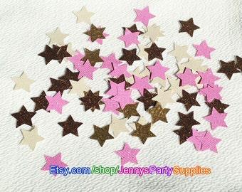 250PCS Glitter Star Confetti, Twinkle Stars, Star Confetti, Glitter Stars, Gold and Pink Stars, Gold and Pink Confetti, Stars Table Scatter